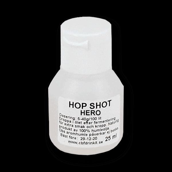 Hop Shot Hero 25ml. Prova dig fram vilken humle som passar bäst för just ditt snus. Droppa några droppar i varje dosa. - Beställ från Tobakskemi.se